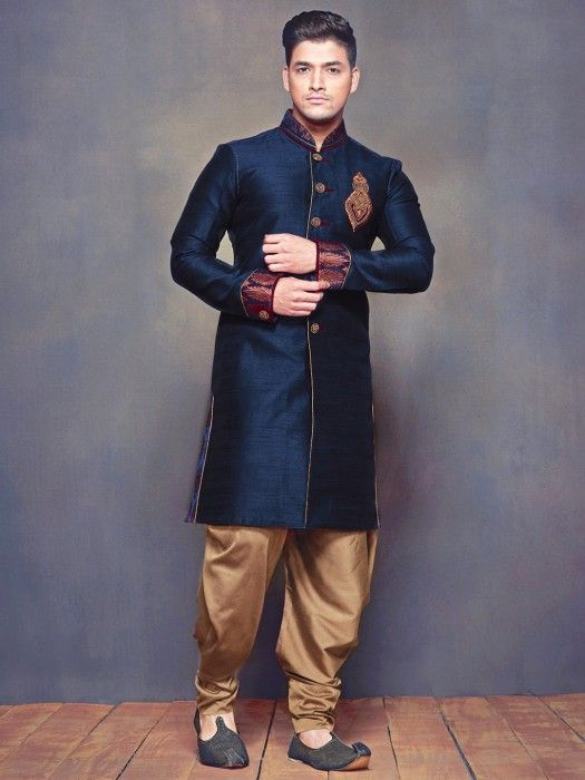 546fda2de8 Shop exclusive navy plain raw silk wedding wear men kurta suit online from  fashion india also