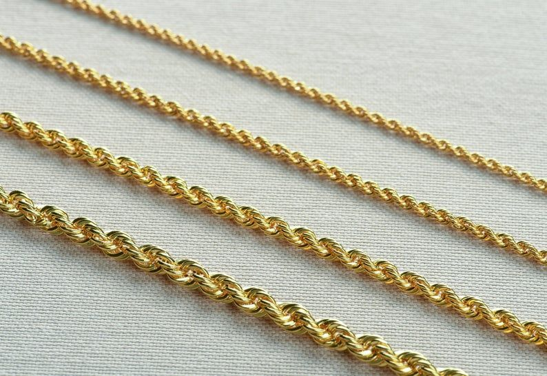 14k Gold Rope Chain Necklace 5mm Gold Rope Chain Necklace Etsy