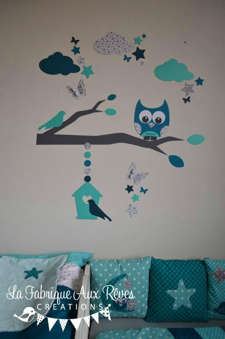 stickers hibou chouette décoration chambre enfant bébé garçon ...