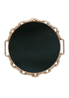 Bombay  14-in. Glass Mirror Gold Metal Chain Decorative Tray