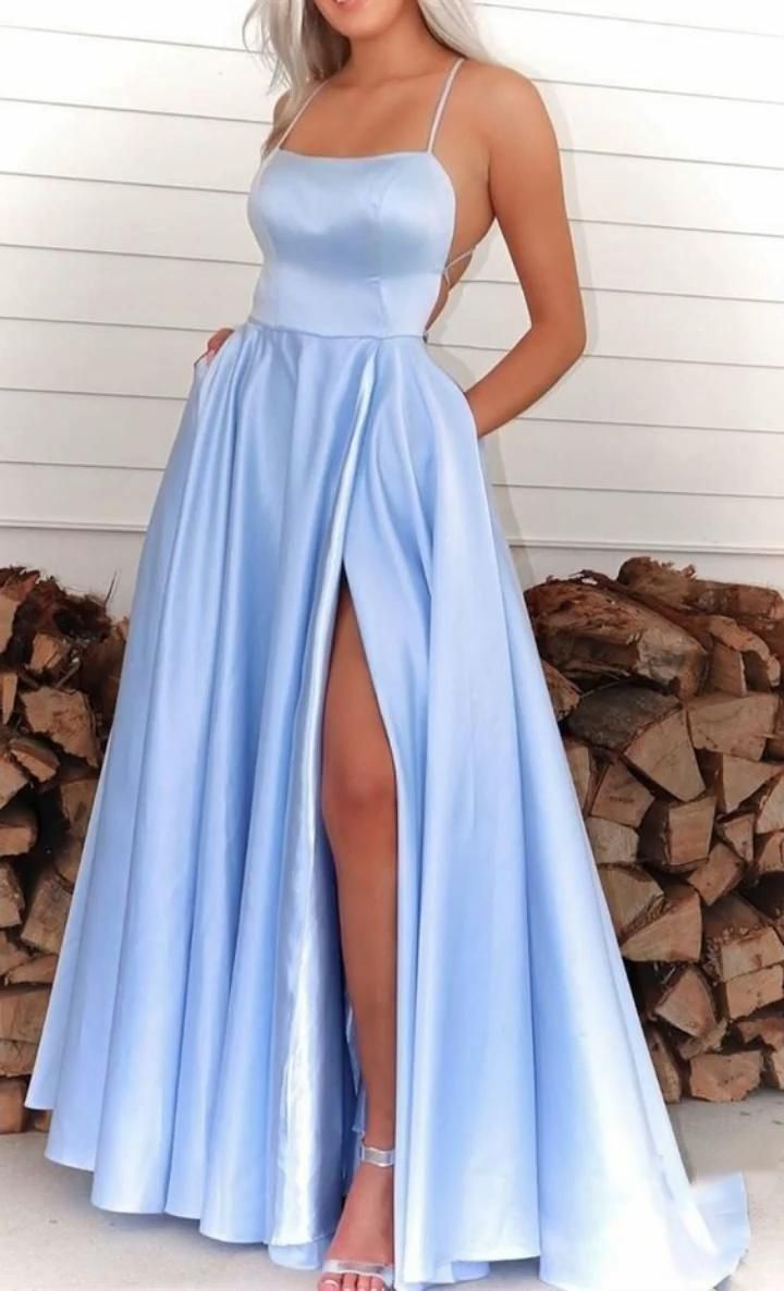Photo of light sky blue long prom dresses, cheap prom dresses for girls, a line party dresses ML9025