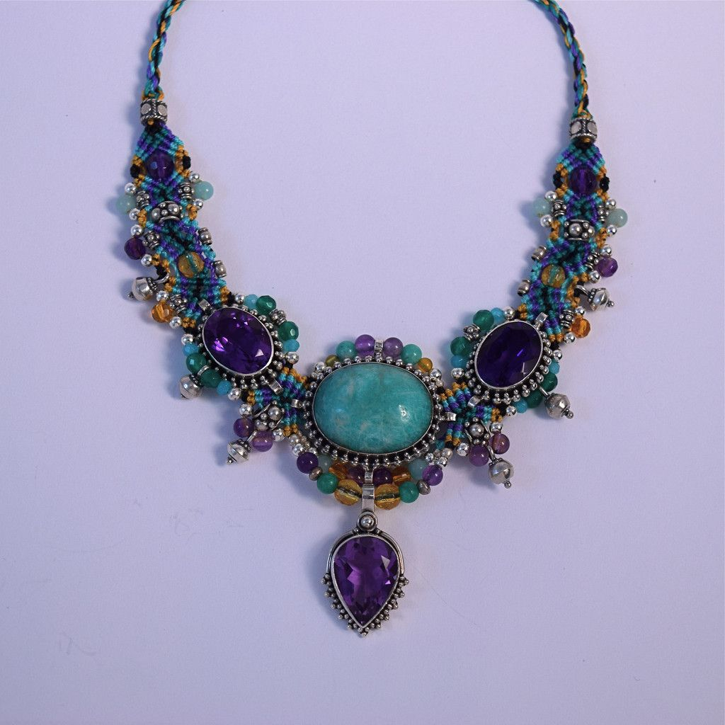 amethyst pin choker stone elafi green in necklace isha with blue big purple gold