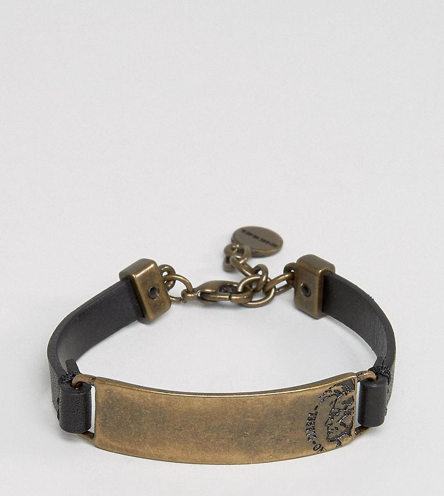 Diesel logo leather bracelet - Black en2JM1vS