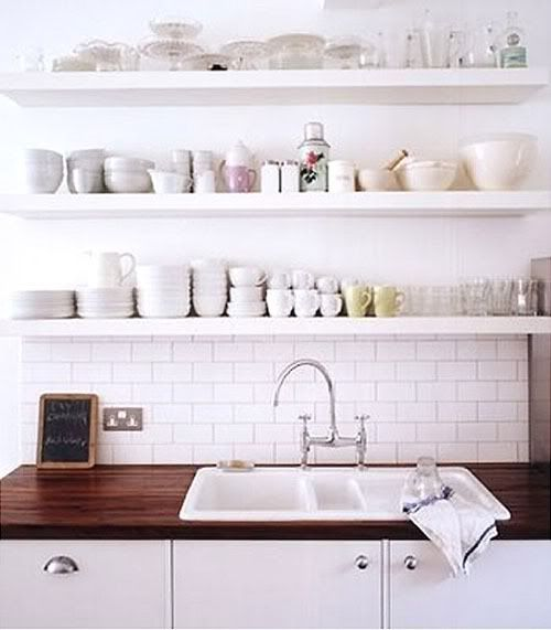 Medium image of open shelving above sink