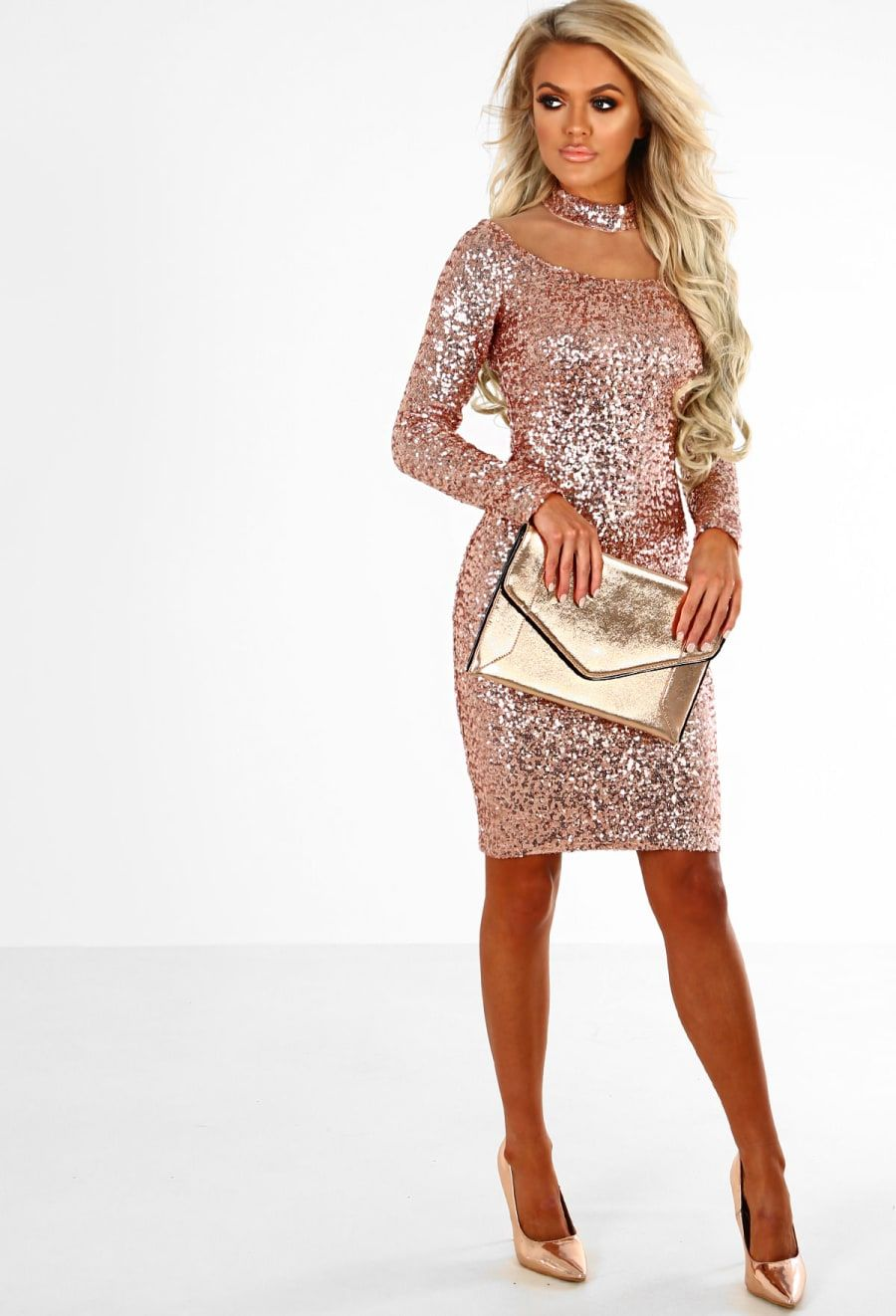 Bare bling rose gold sequin mesh long sleeve mini dress