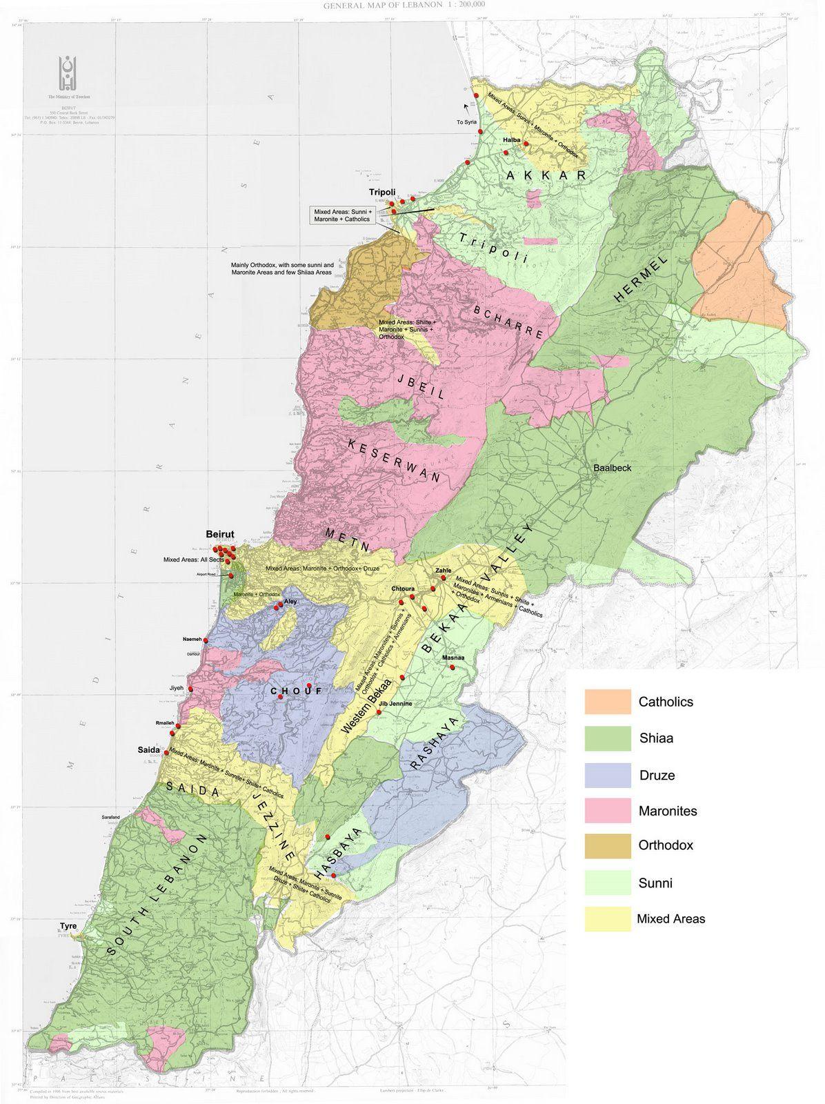 Libanon Geografiske Kort Over Libanon Dansk Encyklopaedi Libanon Wissen Wissenswertes