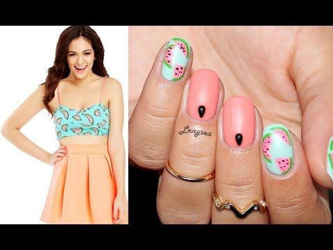 Watermelon Nail Design I Inspired by Bethany Mota - YouTube