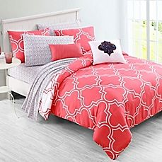 image of VCNY Home Inspire Me Gia Reversible Comforter Set in Coral