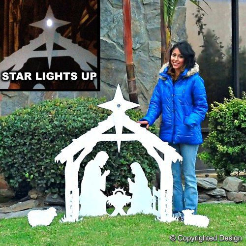 Outdoor Nativity scene with solar lighted Star! \u2026 Christmas Decor