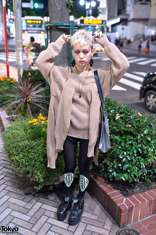 Hirari Ikeda w/ Blonde Hair, Vive Vagina & Dog Harajuku Sweater