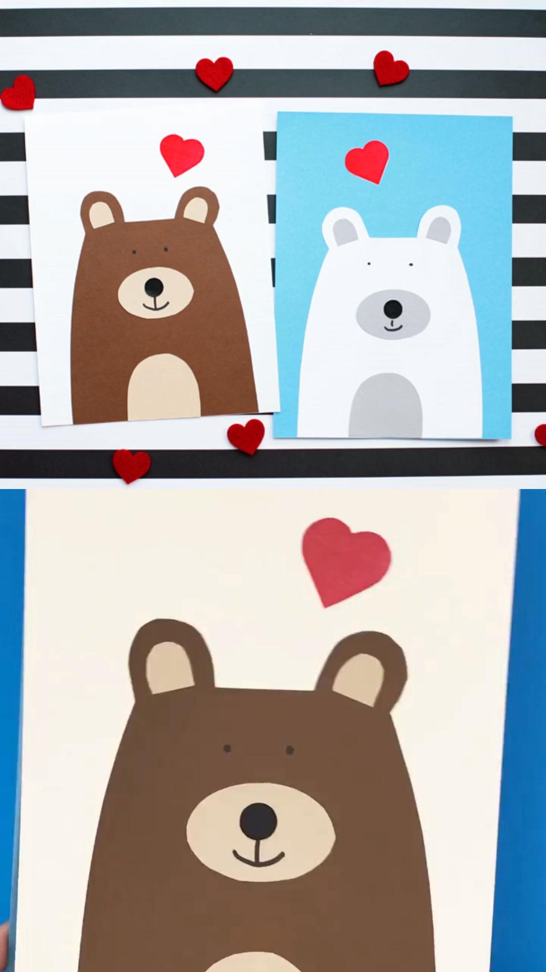 Bear Heart Valentine Craft Kids
