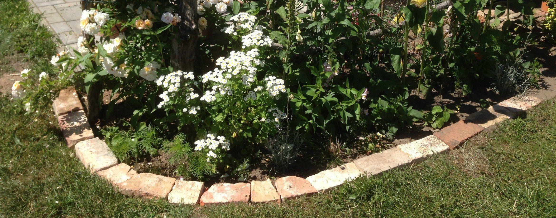 ziegelsteine als beeteinfassung sind eine günstige und, Gartenarbeit ideen