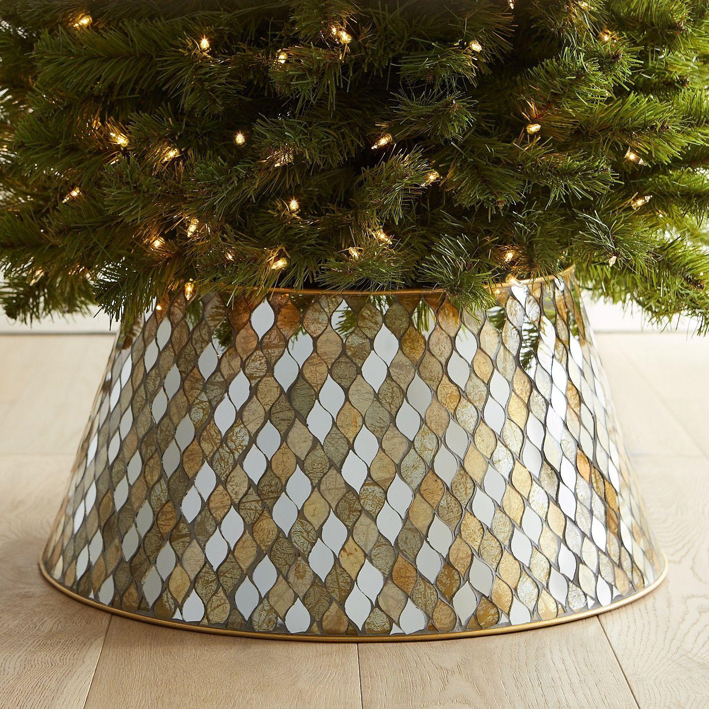 Gold & Silver Mosaic Tree Collar Metal christmas tree