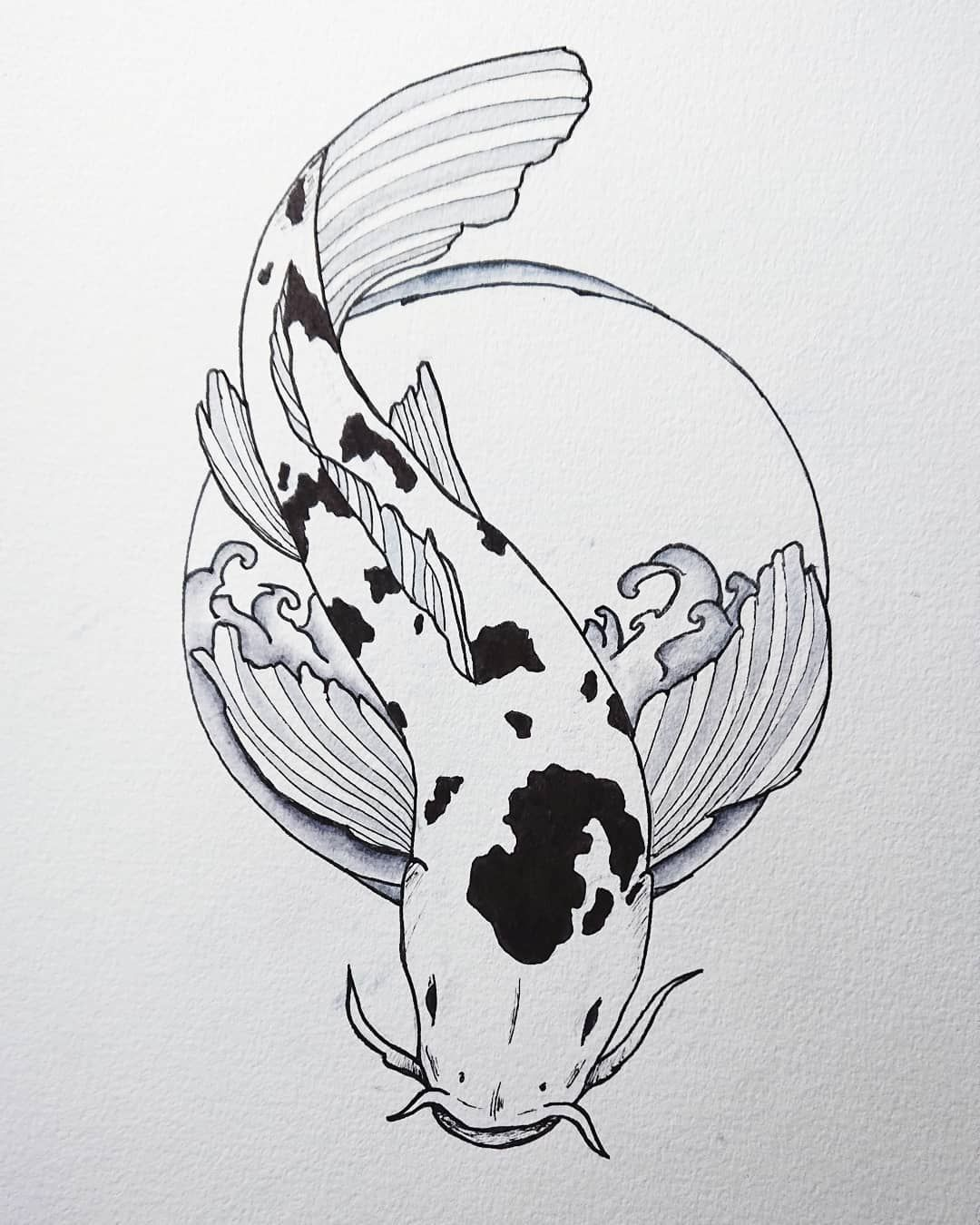 Jogger Waist Shorts Koi Art Koi Fish Drawing Tattoo Graphic