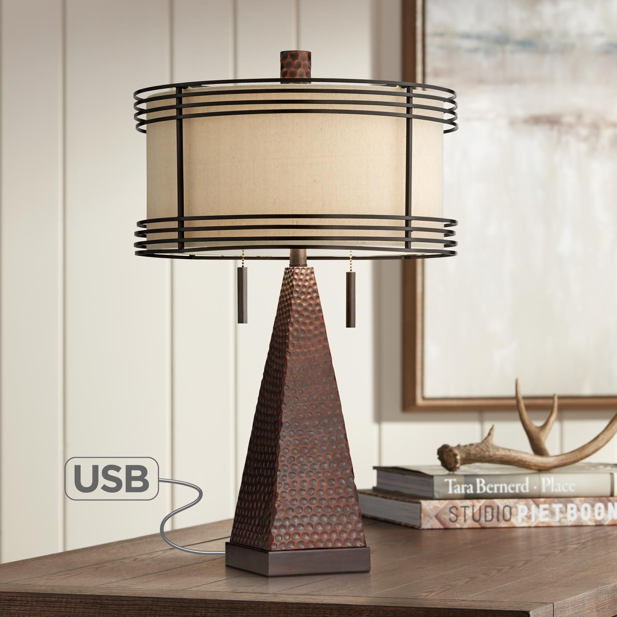 Table Lamps Niklas Industrial Bronze Table Lamp With Usb Port Bronze Table Lamp Industrial Table Lamp Rustic Table Lamps