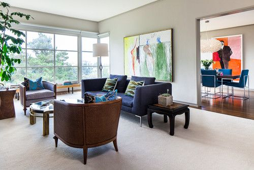 Eclectic Living Room Love The Painting Blue Sofas Living Room Contemporary Living Room Design Paint Colors For Living Room