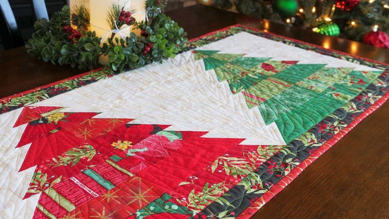 How To Make The Tree Farm Table Runner A Shabby Fabrics Tutorial Youtube Christmas Table Runner Pattern Shabby Fabrics Quilted Table Runners