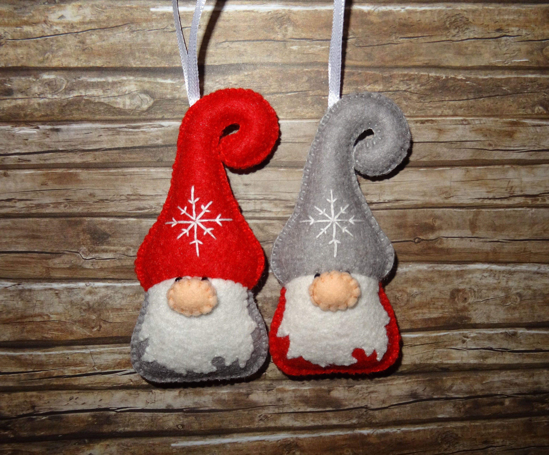 Christmas Gnome Set Of 2 Wool Felt Gnome Dwarf Ornament Etsy Felt Christmas Ornaments Diy Felt Christmas Ornaments Felt Crafts Christmas