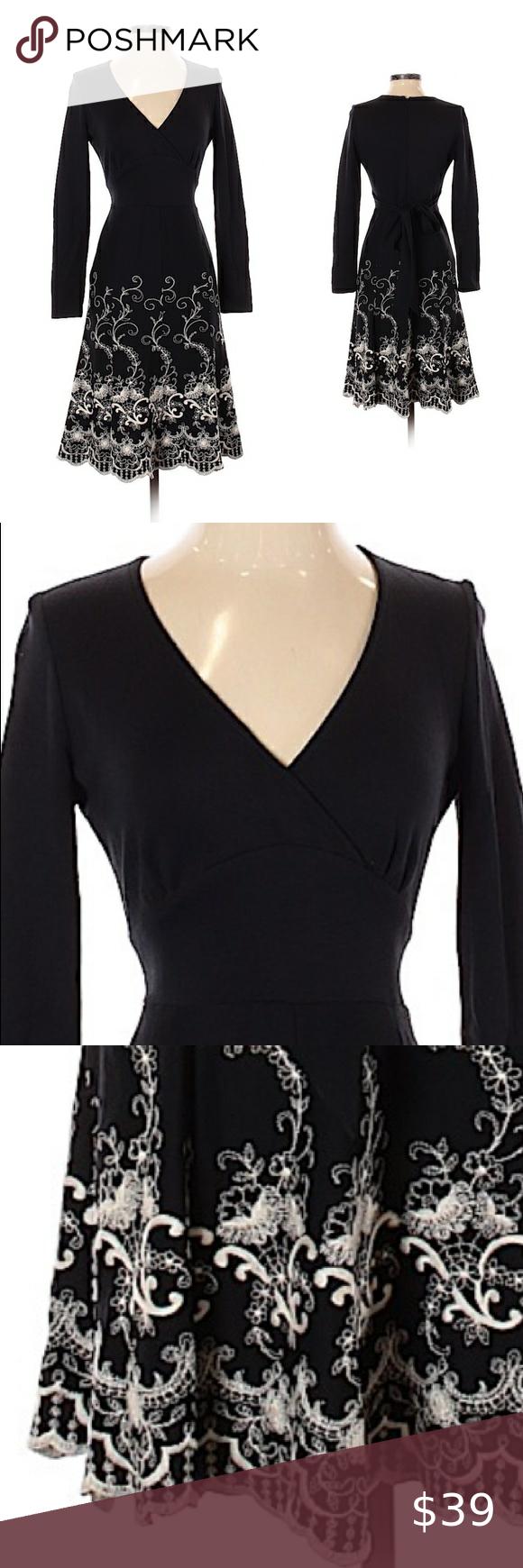 Chetta B Black Long Sleeve Fit And Flare Dress Fit And Flare Dress Flare Dress Dresses [ 1740 x 580 Pixel ]