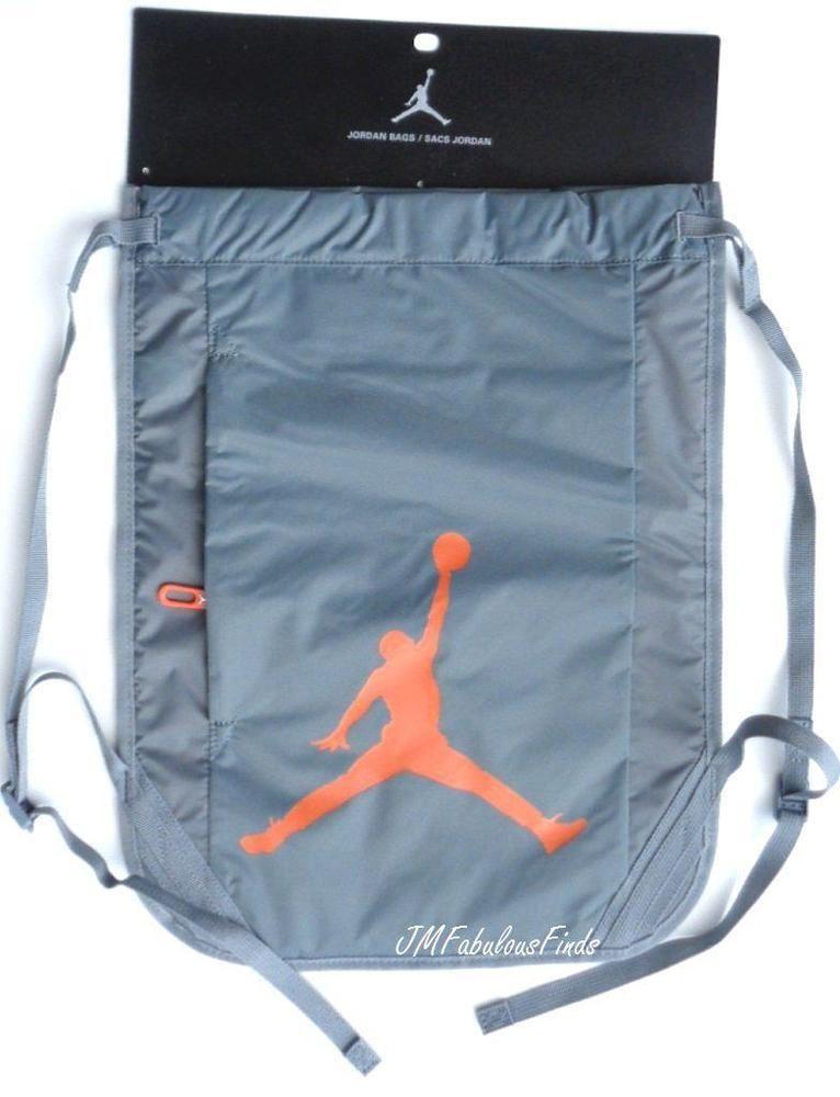 c2a098ad3e Nike Jordan Jumpman Gray Gym Sack Drawstring Bag Backpack 444778-068 NWT   Nike  DuffleGymBag