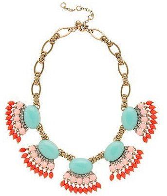 Fan fringe necklace,  turquoise necklace, statement necklace, flower necklace, bridesmaid gift, bridesmaid necklace- etsy shop
