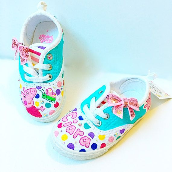 d605f6f6af7 Custom peppa pig canvas shoes - Toddler birthday party shoes ...
