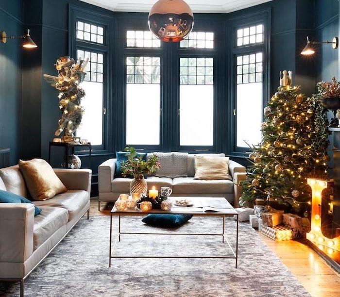 Decoration Table Noel Bleu Gris - valoblogi.com