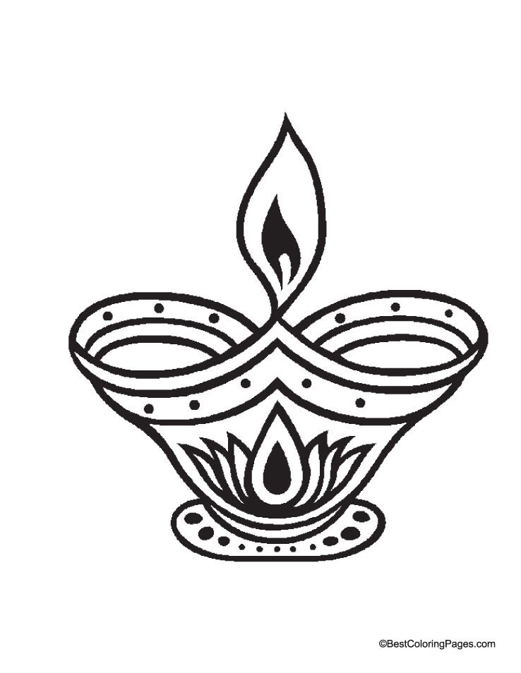 Diya Picture Coloring Page Diwali Clipart Coloring Sheets For