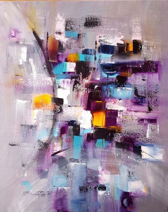 Peinture Moderne Acrylique Multicolore Gris Rose Violet Jaune Bleu Blanc  Turquoise Noir Blanc Sur Châssis