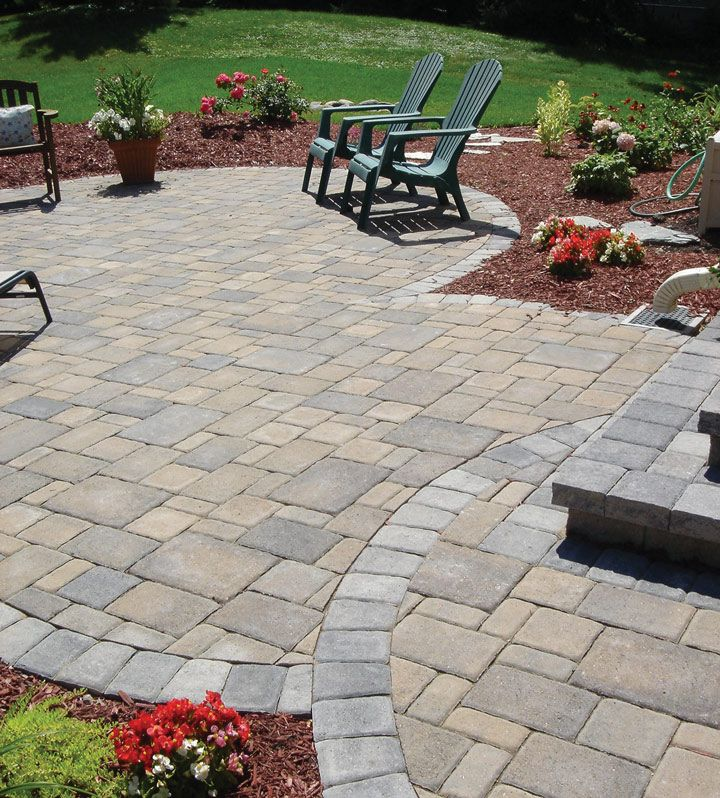 Charming Patio Paver Ideas   A Soldier Course In A Contrasting Color Gives This Cobblestone  Patio Added Defin