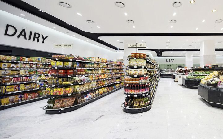 Hyundai Department Store At Kintex Mall In Il San By Hmkm Seoul Retail Design Blog Supermarket Design Interior Supermarket Design Grocery Store Design