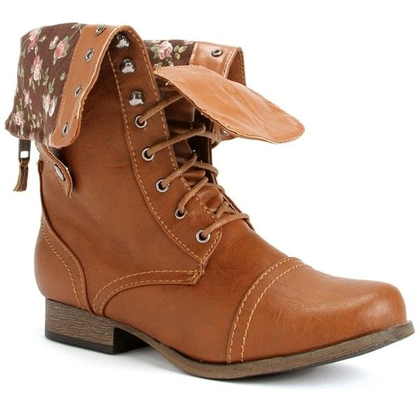 Whiskey Lace Up Back Zipper Combat Boots ($33) via Polyvore