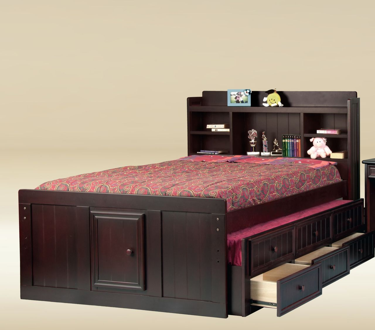Toledo Black Full Size Captains Bed Bookcase Captains Beds For
