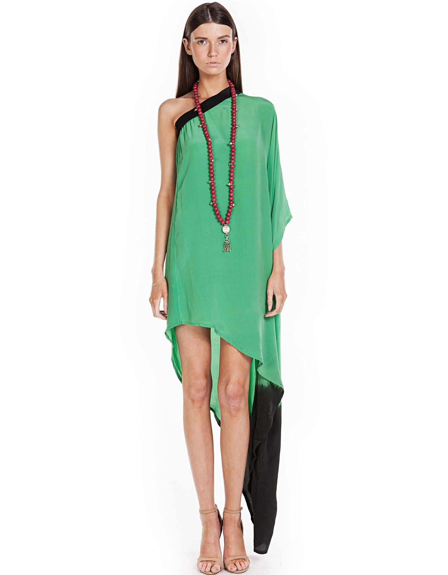 8195970d44320 Angel Wings green one shoulder dress available Suede Online