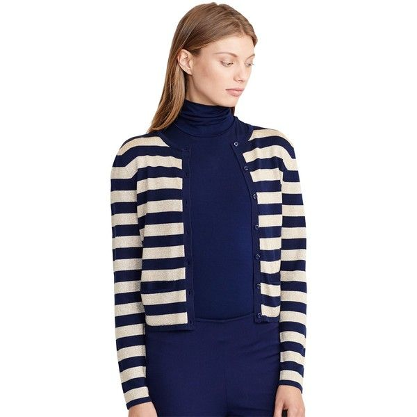 Lauren Ralph Lauren Stripe Metallic Cardigan, Navy/Gold (€170 ...
