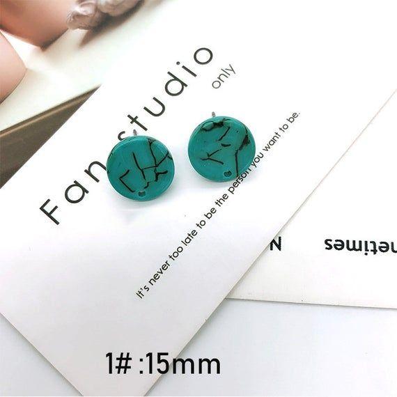 Geometric Tortoise Shell Earring Small Hoop Acetate Acrylic Turquoise Pattern Round Charm Pendant Ea