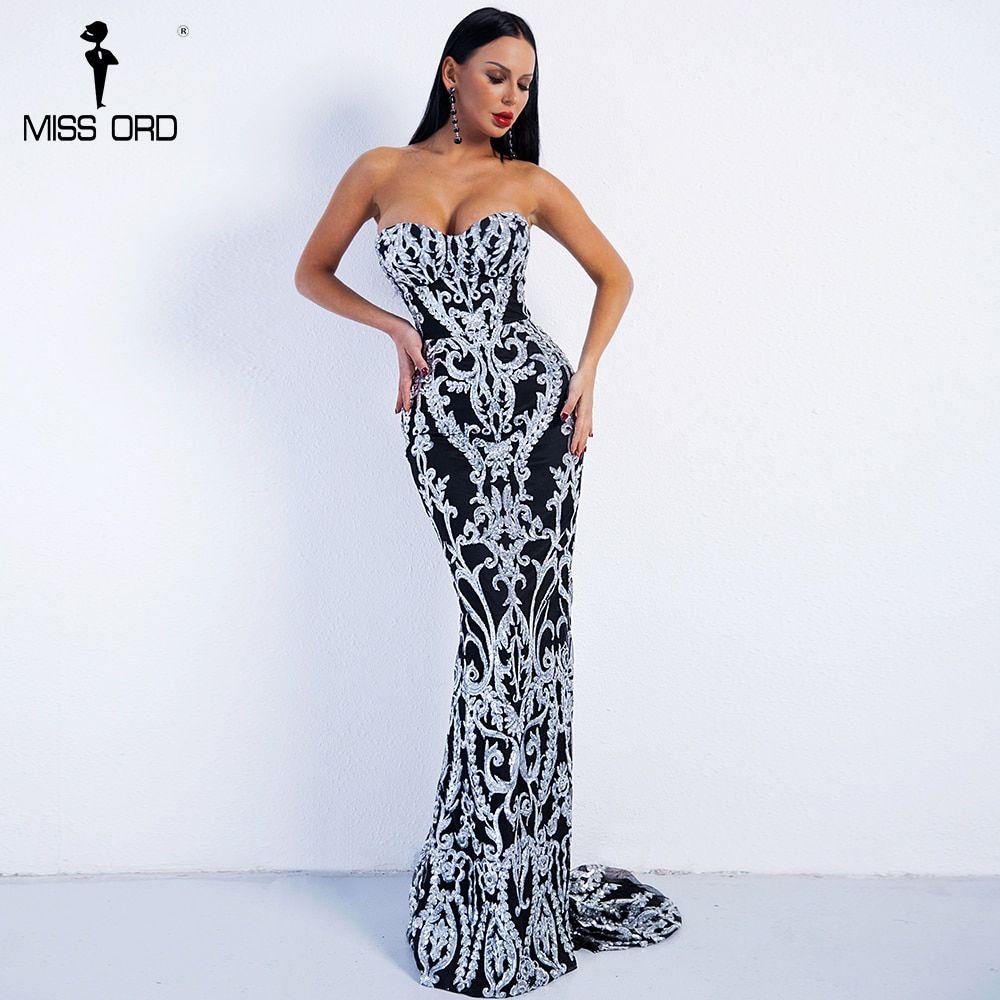 132371b29209 Missord 2018 Sexy New Bra Off Shoulder Retro Geometry Sequin Female Dresses  Floor Length Party Elegant Dress Vestdios FT8888-2