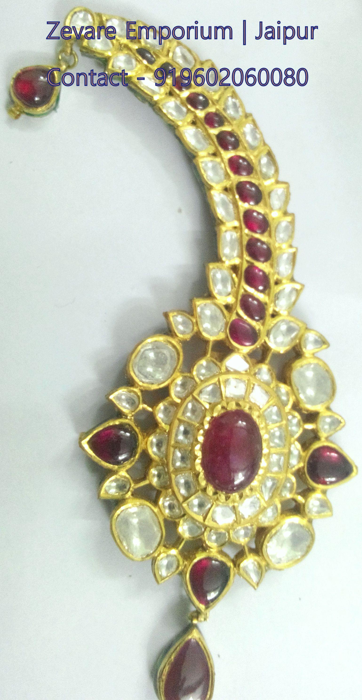Real Gold Kundan Meena Diamond Polki Jewellery, Jadau Polki