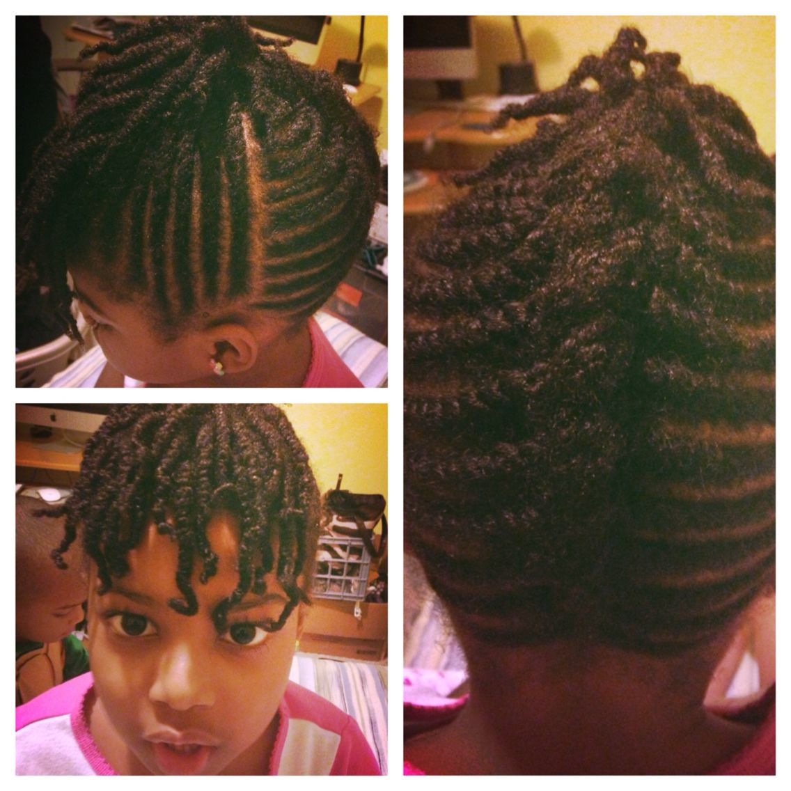 Kids Natural Hair Style Flat Twists Updo Two Strand Twists Natural Hair Styles Natural Hair Twists Hair Dos For Kids