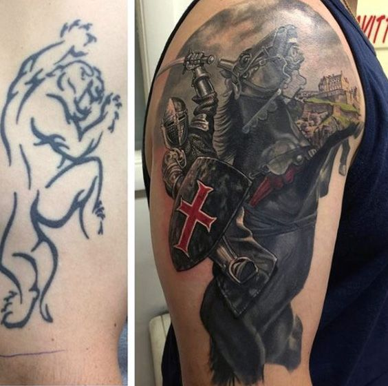 Cover Up For Men: Arm Knight Mens Tattoo Cover Up