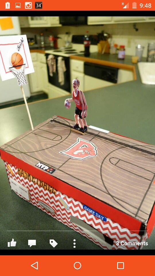 Our simple machine basketball valentine box the pulley for How to build basketball court
