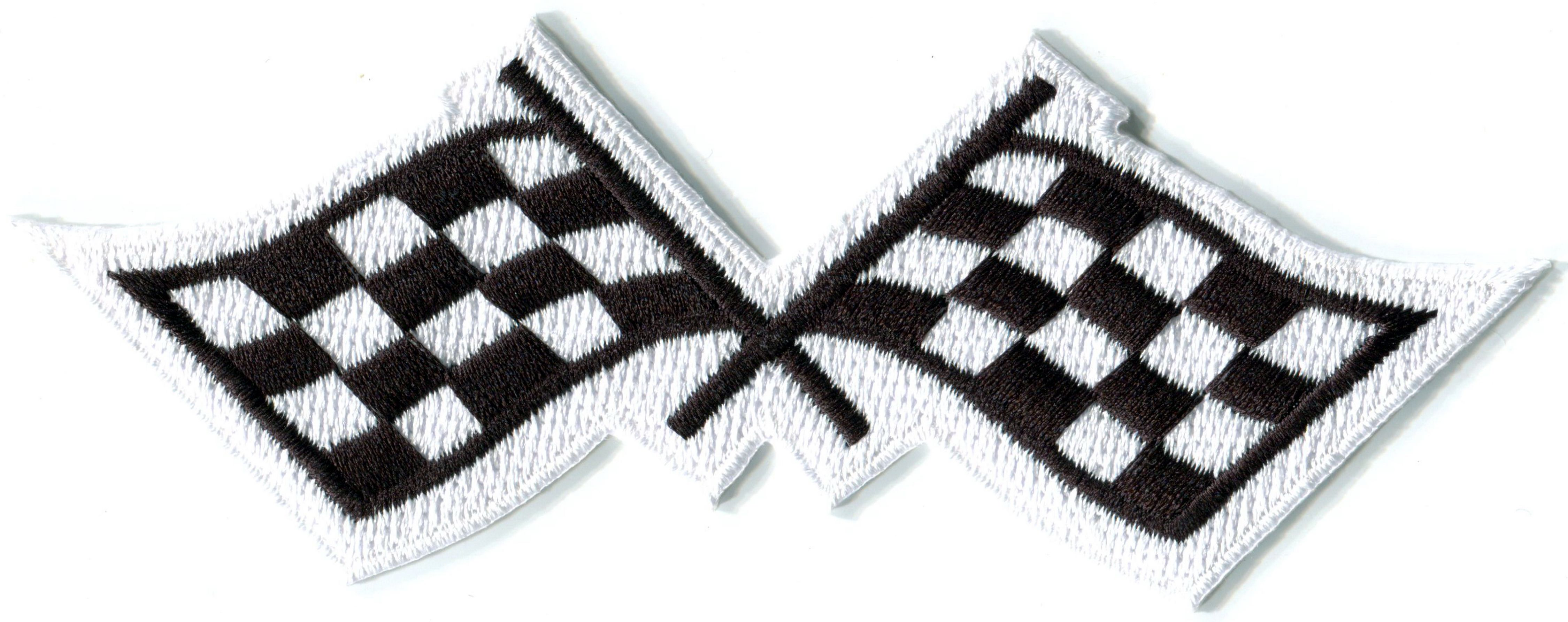Racing Flags Medium Crossed//Checkered Iron on Applique//Embroidered Patch