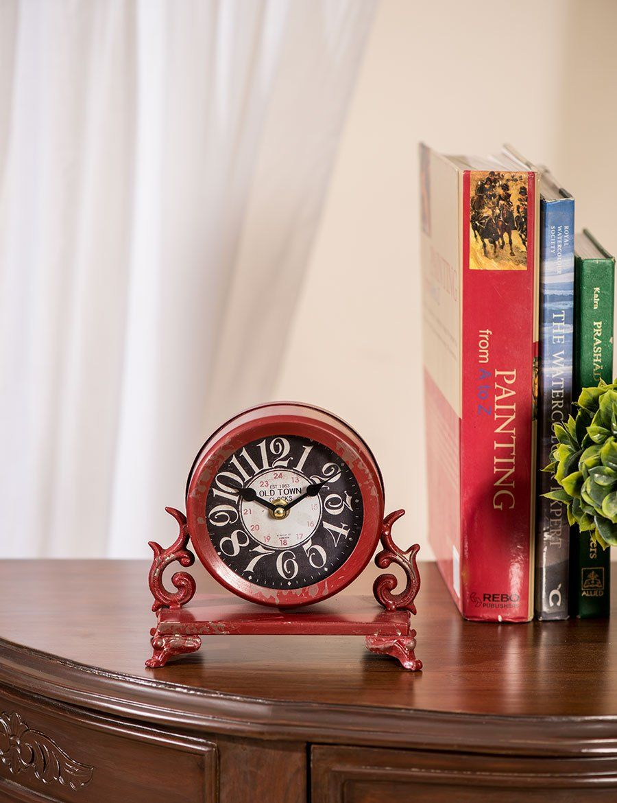 Old Town Rustic Table Clock Red Clock Rustic Table Rustic
