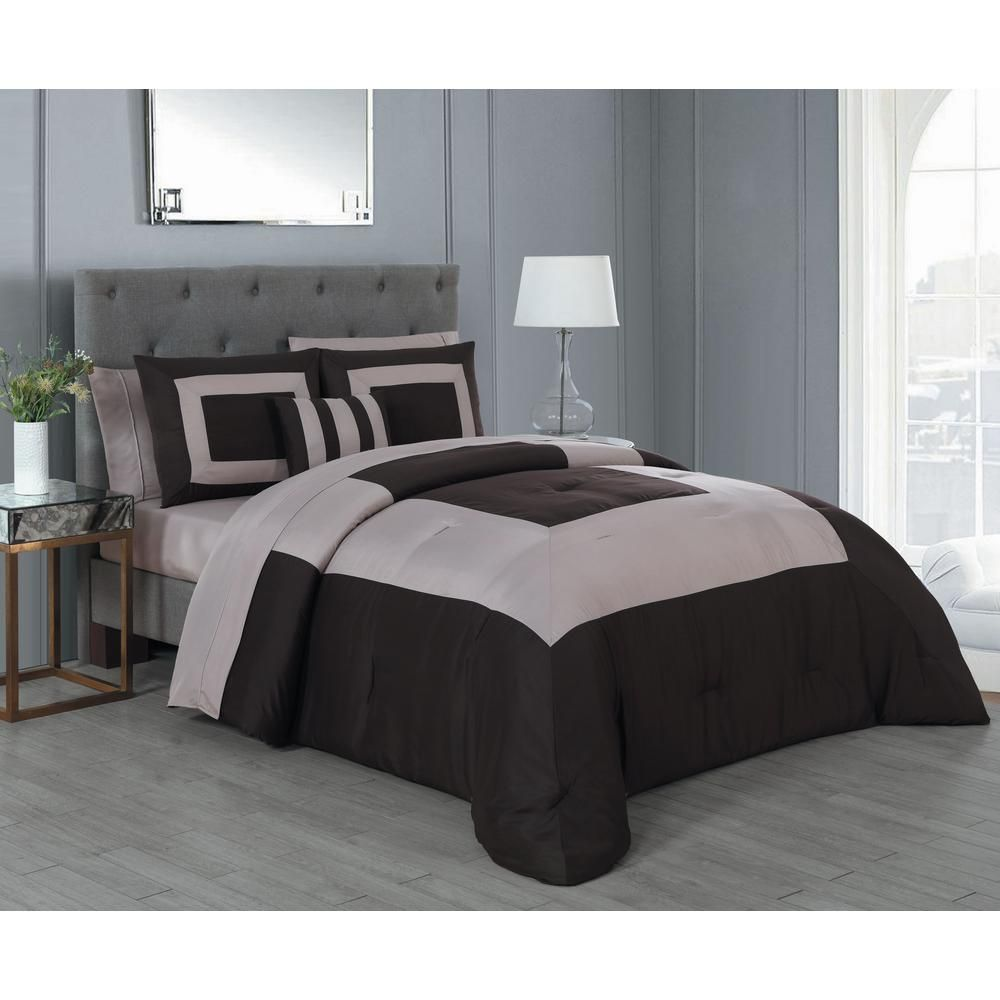 Avondale Manor Carson 8 Piece Brown Taupe King Comforter Set
