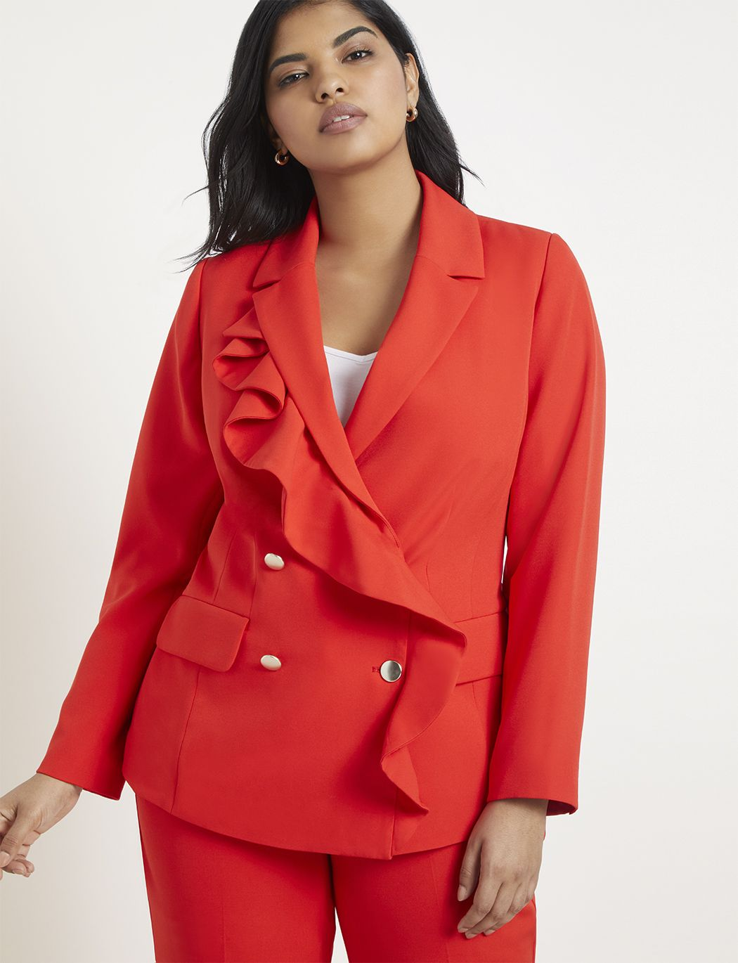 632d7e527f3 Double Breasted Blazer with Ruffle | Women's Plus Size Coats + Jackets |  ELOQUII