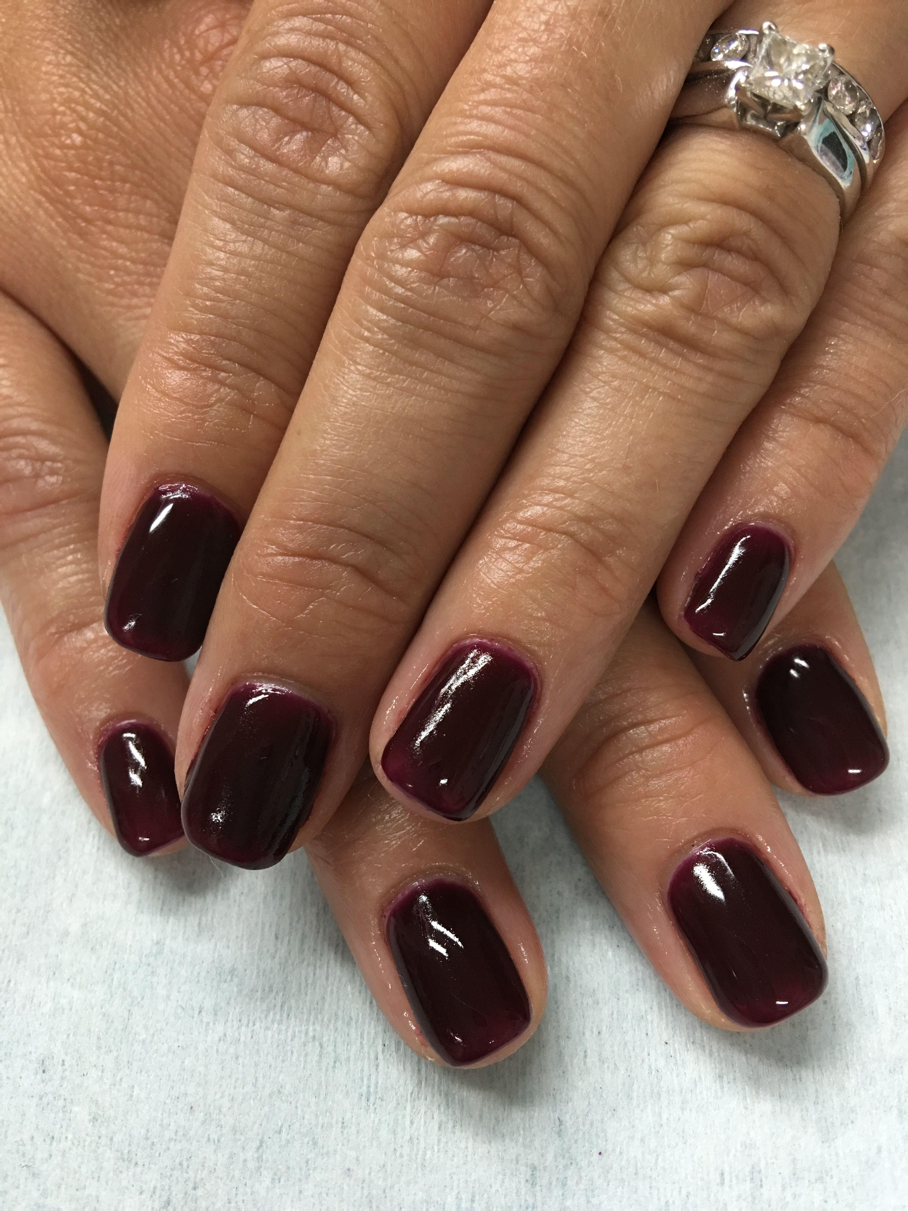 Dark Red Cherry Fall gel nails | Gel Nail designs | Pinterest