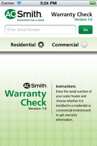The A  O  Smith Warranty Check app for plumbers & contractors puts