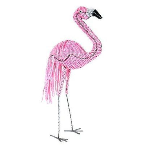 Handmade 15-inch Tall Beaded Flamingo - South Africa