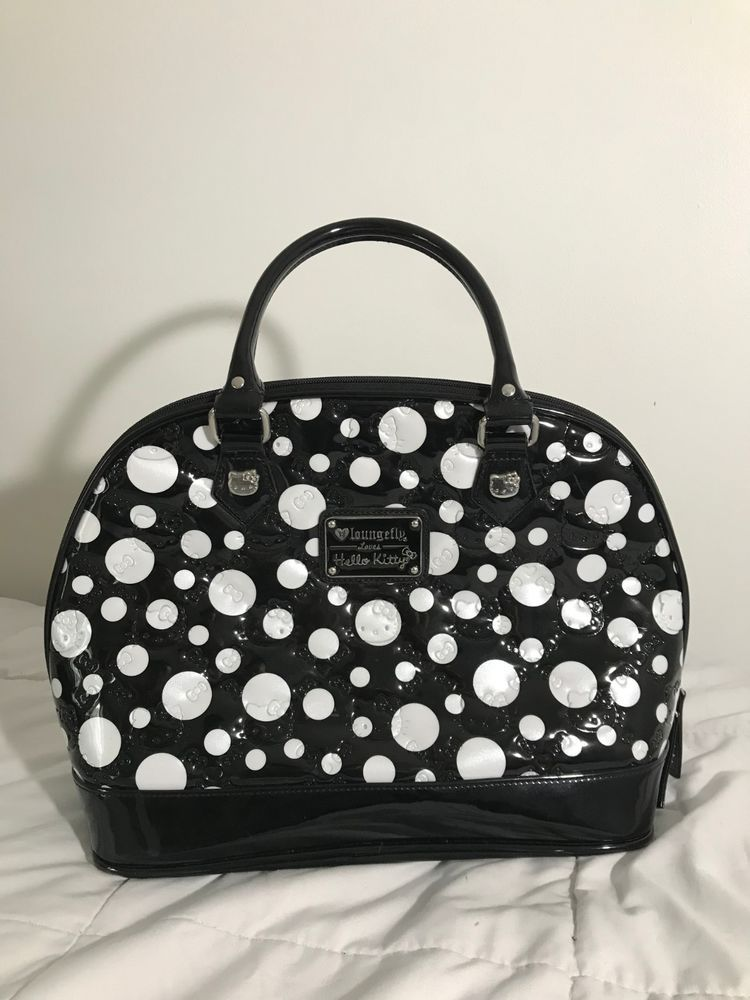 a3bc13ec92d0 LoungeFly Hello Kitty Large Black and White Patent Embossed Satchel Tote   fashion  clothing  shoes  accessories  womensbagshandbags (ebay link)