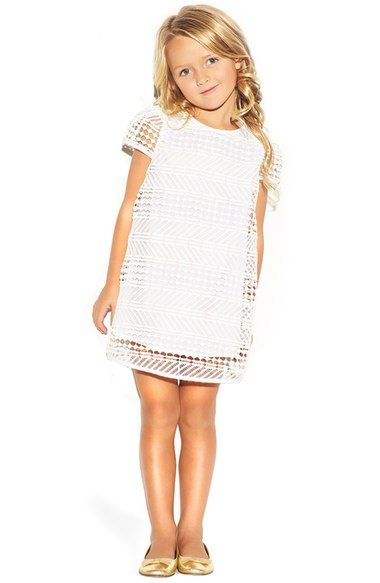Girls white lace shift dress